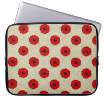 Rustic Red  Flowers Pattern Computer Sleeve