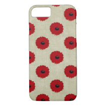 Rustic Red  Flowers Pattern iPhone 7 Case