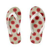 Rustic Red  Flowers Pattern Kid's Flip Flops