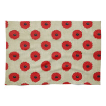 Rustic Red  Flowers Pattern Kitchen Towel