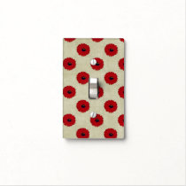 Rustic Red  Flowers Pattern Light Switch Cover