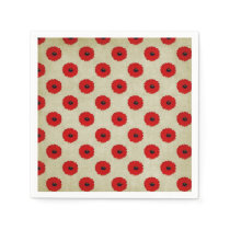 Rustic Red  Flowers Pattern Paper Napkin
