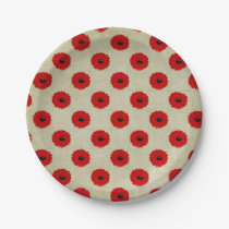 Rustic Red  Flowers Pattern Paper Plate