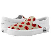 Rustic Red  Flowers Pattern Slip-On Sneakers