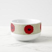 Rustic Red  Flowers Pattern Soup Mug