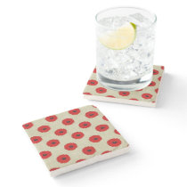 Rustic Red  Flowers Pattern Stone Coaster