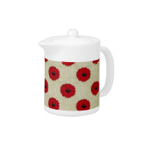 Rustic Red  Flowers Pattern Teapot