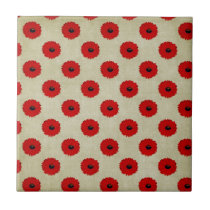 Rustic Red  Flowers Pattern Tile