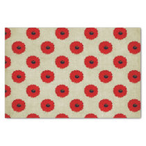 Rustic Red  Flowers Pattern Tissue Paper