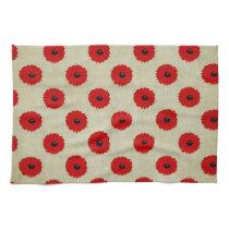 Rustic Red  Flowers Pattern Towel