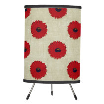 Rustic Red  Flowers Pattern Tripod Lamp