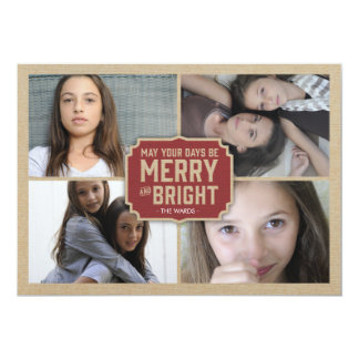 Rustic Red Frame Holiday Photo Card