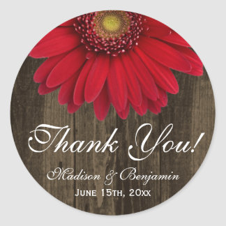 Rustic Red Gerber Daisy Wedding Thank You Sticker