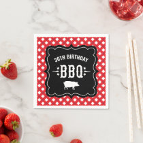 Rustic Red Gingham Plaid 30th Birthday BBQ Paper Napkins