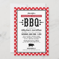 Rustic Red Gingham Wedding Couples Shower BBQ Invitation