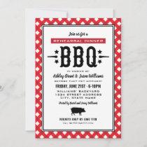 Rustic Red Gingham Wedding Rehearsal Dinner BBQ Invitation