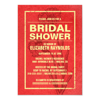 Rustic Red & Gold Bridal Shower Invitations Personalized Announcement
