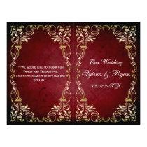 Rustic, red gold regal bookfold Wedding program