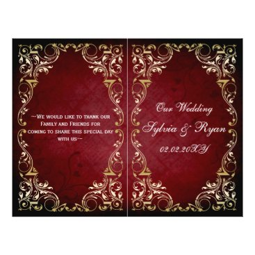 Rustic, red gold regal bookfold Wedding program
