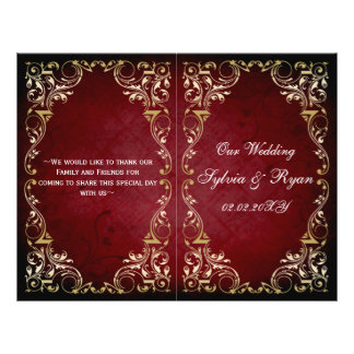 Rustic, red gold regal bookfold Wedding program Personalized Flyer