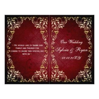 "Rustic, red gold regal bookfold Wedding program 8.5"" X 11"" Flyer"