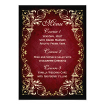 rustic red gold regal wedding menu card