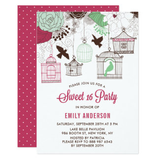 Rustic Red & Green Bird Cages Floral Sweet Sixteen Card