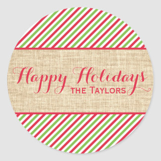 Rustic Red Green Stripes Christmas Gift Tag Classic Round Sticker