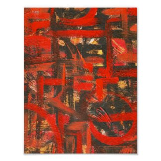 Rustic Red-Hand Painted Abstract Art