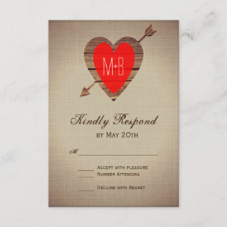 Rustic Red Heart Arrow Wedding RSVP Cards