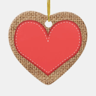 Rustic red heart decoration Double-Sided heart ceramic christmas ornament