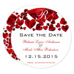 Rustic Red Heart Roses Wedding Save the Date Card