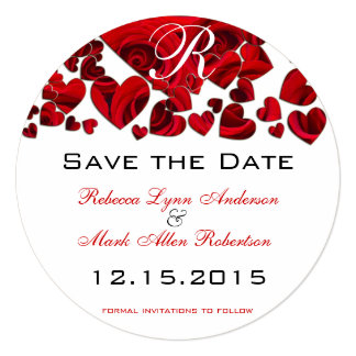 """Rustic Red Heart Roses Wedding Save the Date 5.25"""" Square Invitation Card"""