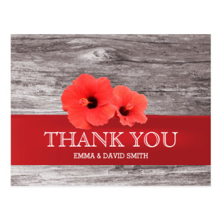 Rustic Red Hibiscus Wood Background Thank You Postcard