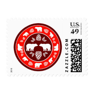 Rustic red maroon bear pinecone postage stamps