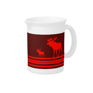 Rustic red moose pitcher