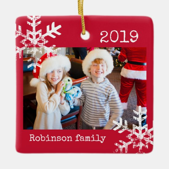 Rustic Red Photo Ornament with Snowflakes