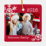 """Rustic Red Photo Ornament with Snowflakes<br><div class=""""desc"""">Customize this ornament with your family photo and add your family name along with the year for this great Christmas keepsake.</div>"""