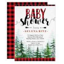 Rustic Red Plaid Boy Baby Shower Invitation