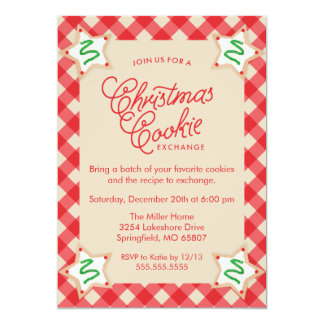 Rustic Red Plaid Christmas Cookie Exchange Card