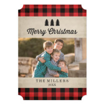 Rustic Red Plaid Christmas Photo Card