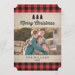 plaid christmas cards zazzle