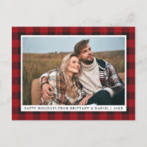 Rustic Red Plaid Couple Photo Happy Holidays Postcard