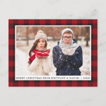 Rustic Red Plaid Couple Photo Merry Christmas Postcard