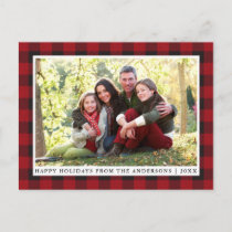 Rustic Red Plaid Family Photo Happy Holidays Postcard