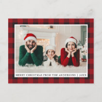 Rustic Red Plaid Family Photo Merry Christmas Postcard