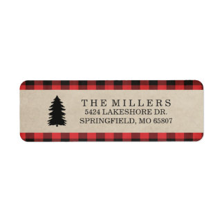Rustic Red Plaid Holiday Address Labels