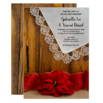 Rustic Red Poinsettia Country Winter Barn Wedding Invitation