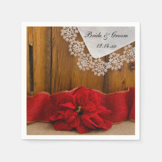 Rustic Red Poinsettia Country Winter Wedding Napkin