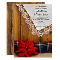 Rustic Red Poinsettia Plaid Winter Barn Wedding Invitation